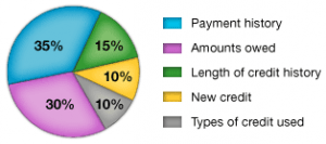 The breakdown of your credit, or FICO, score