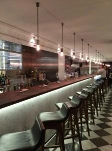 Looking down the tapas bar.