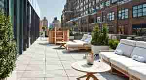 The rooftop lounge and hot tub at Dream Downtown in new York