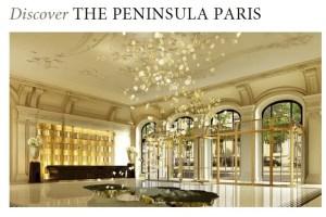 Win a stay at the Peninsula Paris