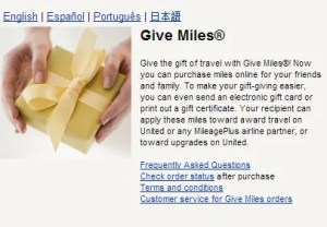 Give or transfer United miles.