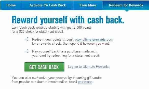 Redeem Ultimate Rewards for cash back.