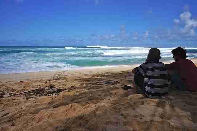Sunset Beach, on the North Shore of the Hawaiian island of O