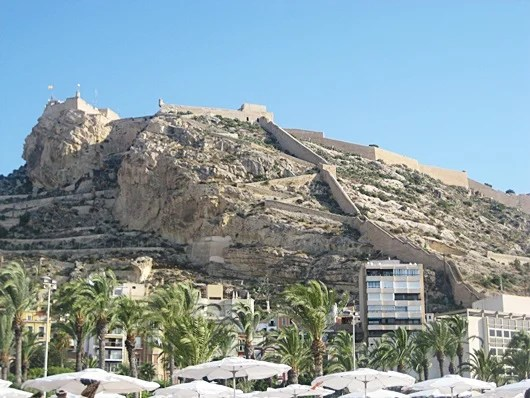 A view of the mountain Benacantil and Santa Barbara castle in Alicante