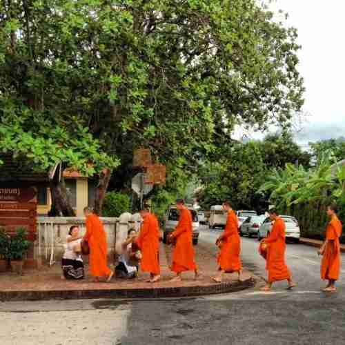 Waking up early to watch the monks collect alms is a must.