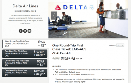 Delta and Gilt are offering a joint promotion on discounted first-class fares to/from AUS and LAX or JFK.