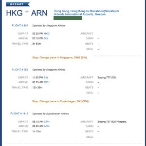 Then came the Hong Kong - Singapore - Copenhagen - Stockholm portion.