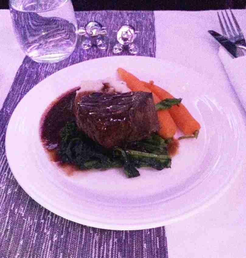 Beef for dinner in Virgin Atlantic