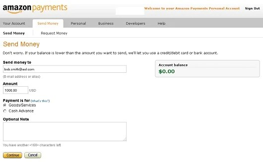 how to use amazon payments without a credit card