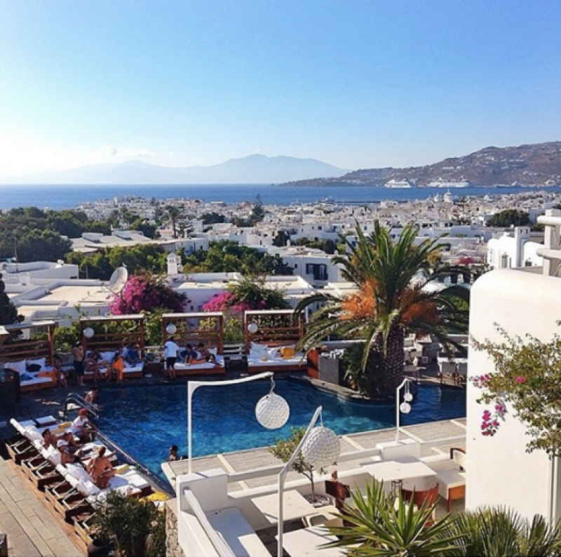 I loved the pool scene and sea views at the Hotel Belvedere Mykonos