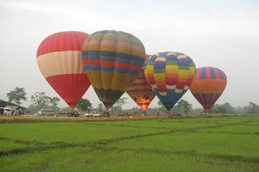 Take a hot air balloon over the Thai countryside