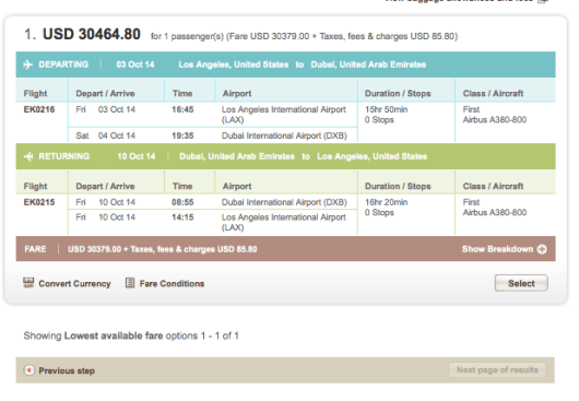 Emirates First Class costs as much as $30,000!