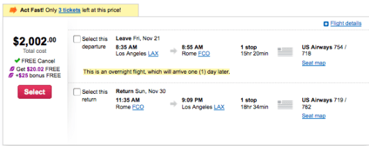LAX FCO pricing