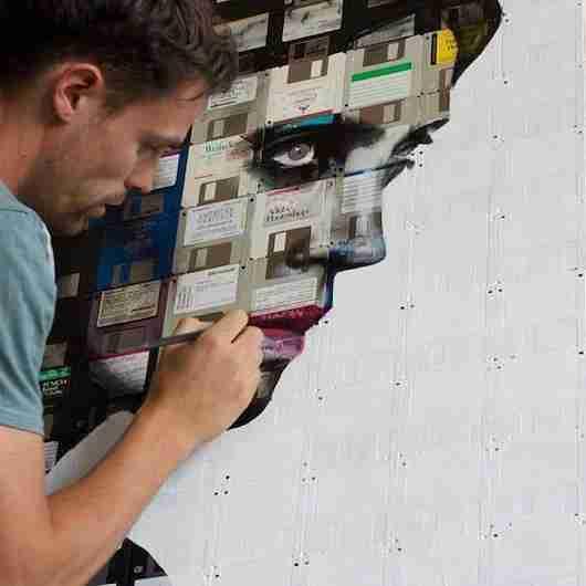 Artist Nick Gentry at work