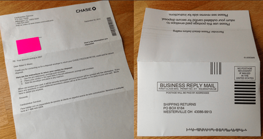 My letter from Chase and the proper disposal envelope they sent