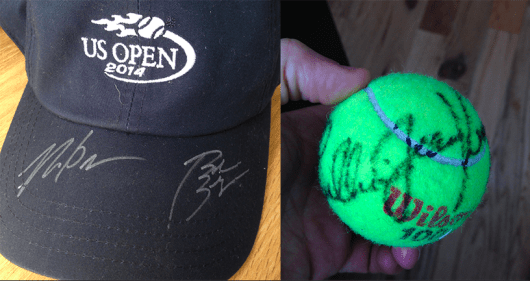 An autographed hat by 2014 Men's Doubles Champions the Bryan Brothers and an autographed tennis ball by legend Billie Jean King!