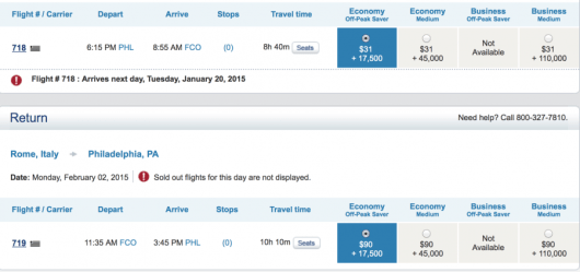 US Airways Off-Peak Awards to Europe are only 35,000 miles.
