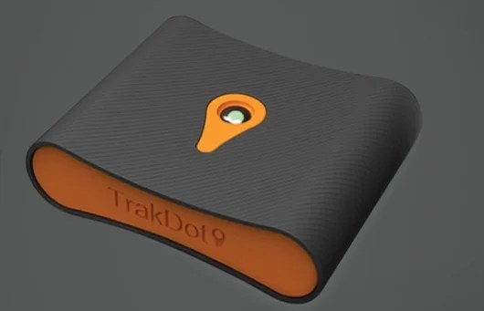 Trakdot is also very small, but uses 2 AA sized batteries and has a single button and light.