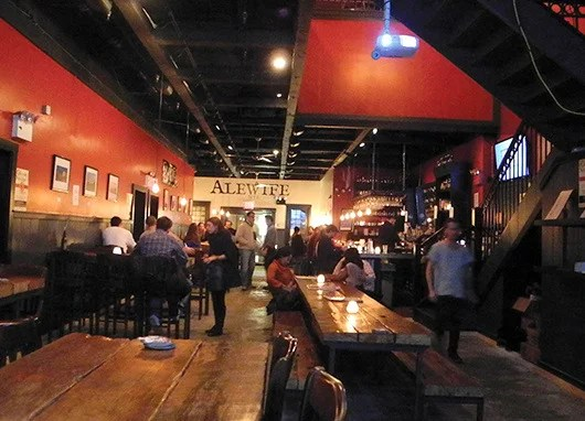 Communal tables at Alewife make kicking back with a cold one more fun