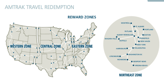 Amtrak's redemption zones.