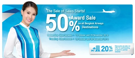 Bangkok Air is offering 50% off awards