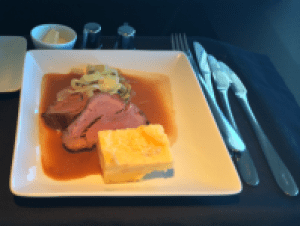 American Airlines' Chateaubriand steak du mop water