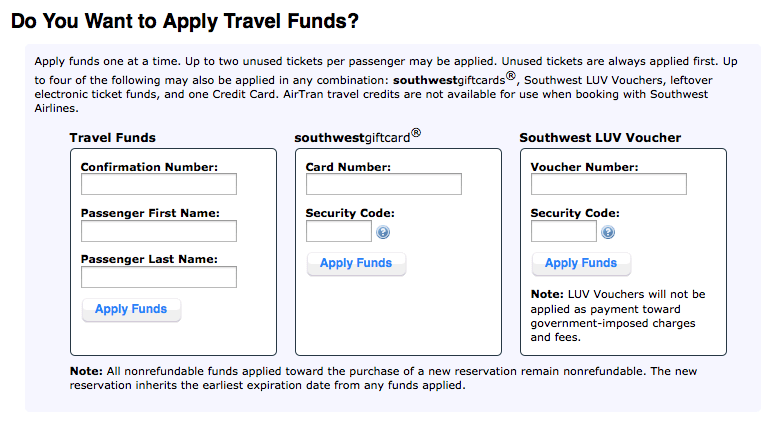 Southwest allows a variety of vouchers to be used but only four payment types at check-out.