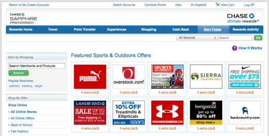 There are many sports & outdoor retailers on the Ultimate Rewards shopping portal.