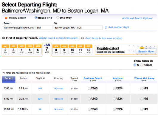 You can book flights from Baltimore (BWI) to Boston for $49 each way.