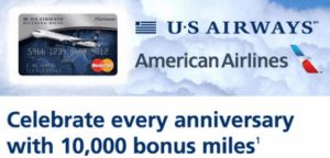 US Airways cardholders will still receive the 10,000 anniversary bonus.