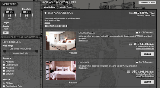 The rates booking directly through Sixty Soho's website