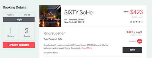 More savings at Sixty Soho through Hotelied
