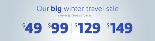 Southwest is running a winter sale with flights from $49.