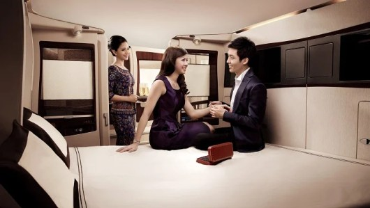 The middle seats convert into a single suite if you are traveling together.