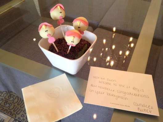 The intricately decorated cake pops left in our room to celebrate our babymoon were the icing on the cake (pun intended) for a terrific stay.