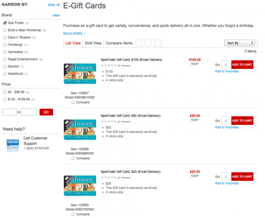 Staples has SpaFinder eGift cards available for you to purchase online.
