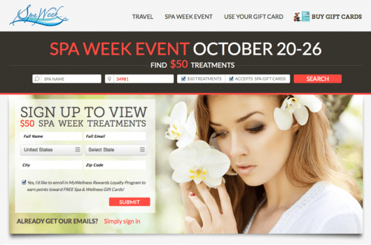 Spa Week is another site with gift cards and its own loyalty program.
