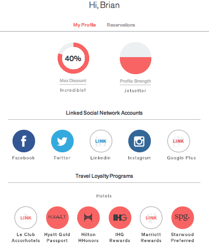 The Points Guy's own Hotelied profile represents larger social media followings and hotel points accounts, but displays the same maximum discount of 40 percent