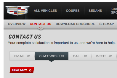 To avoid potential waits on the phone, schedule your appointment via the red-button chat feature of Cadillac
