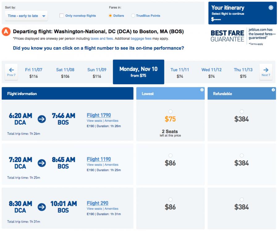 JetBlue fare results