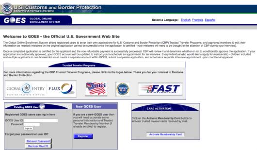 GOES, the Global Online Enrollment System for Global Entry