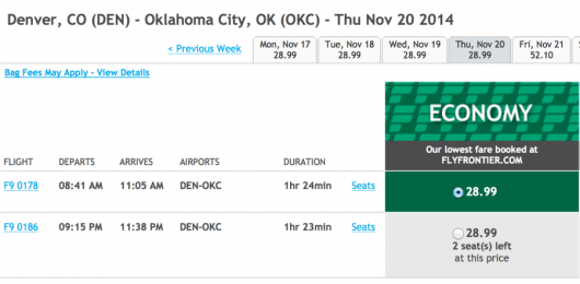 Fly from Denver to Oklahoma City for only $29 each way.