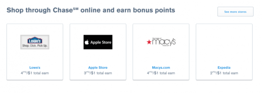 The shopping portal is still there, so you can max out your points earning through it.