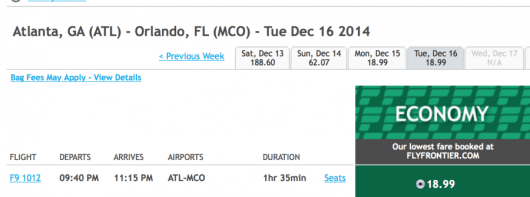 Fly from Atlanta to Orlando for under $19 one-way.