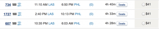 US Airways is running a fare sale from Las Vegas to Philly for $41 each way.