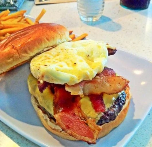 Create your own burgers (like this one with egg, cheddar and bacon) at MIA's The Counter