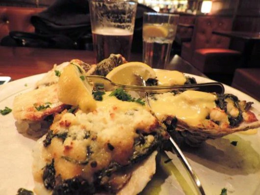 Oysters Pappadeux with crabmeat, spinach and hollandaise (oh, my) at DFW's Pappadeux Seafood Kitchen