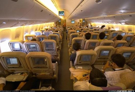 Etihad 777-300 economy cabin. Photo from Airliners.net.