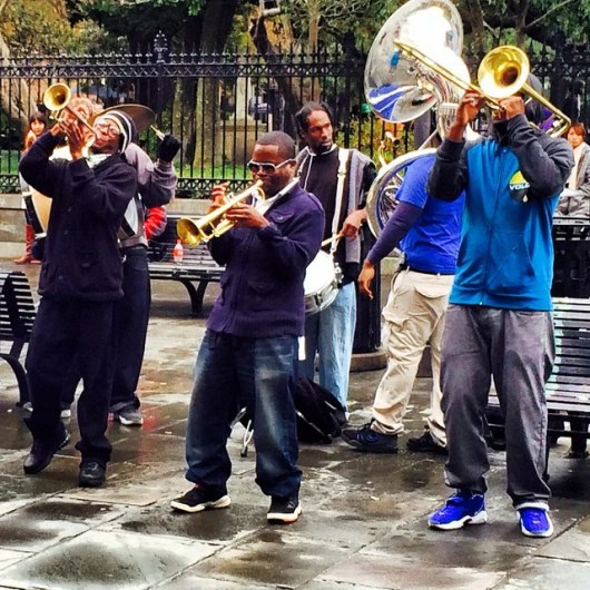 Street musicians celebrating the new year in New Orleans' St. Louis Square (photo by Melanie Wynne)
