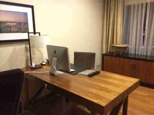 The suite featured an office equipped with an iMac computer